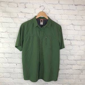 North Face Green Button Up Collared Shirt M